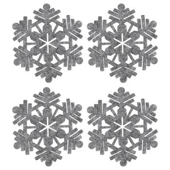 Set of 4 Snowflake Felt Coasters