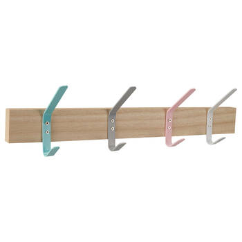Set of 4 Multicoloured Hooks on Wood Plaque