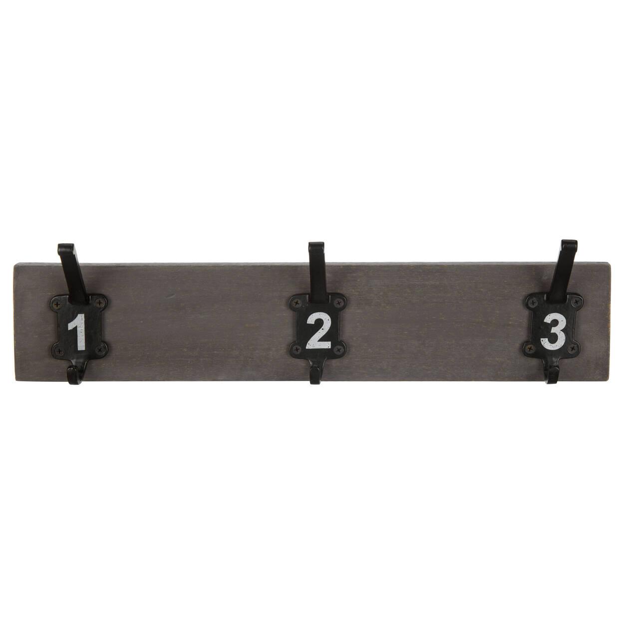 Ensemble de 3 crochets numérotés sur planche de bois