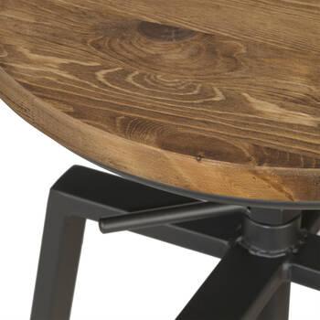 Adjustable Solid Elm Wood and Gun Metal Bar Stool