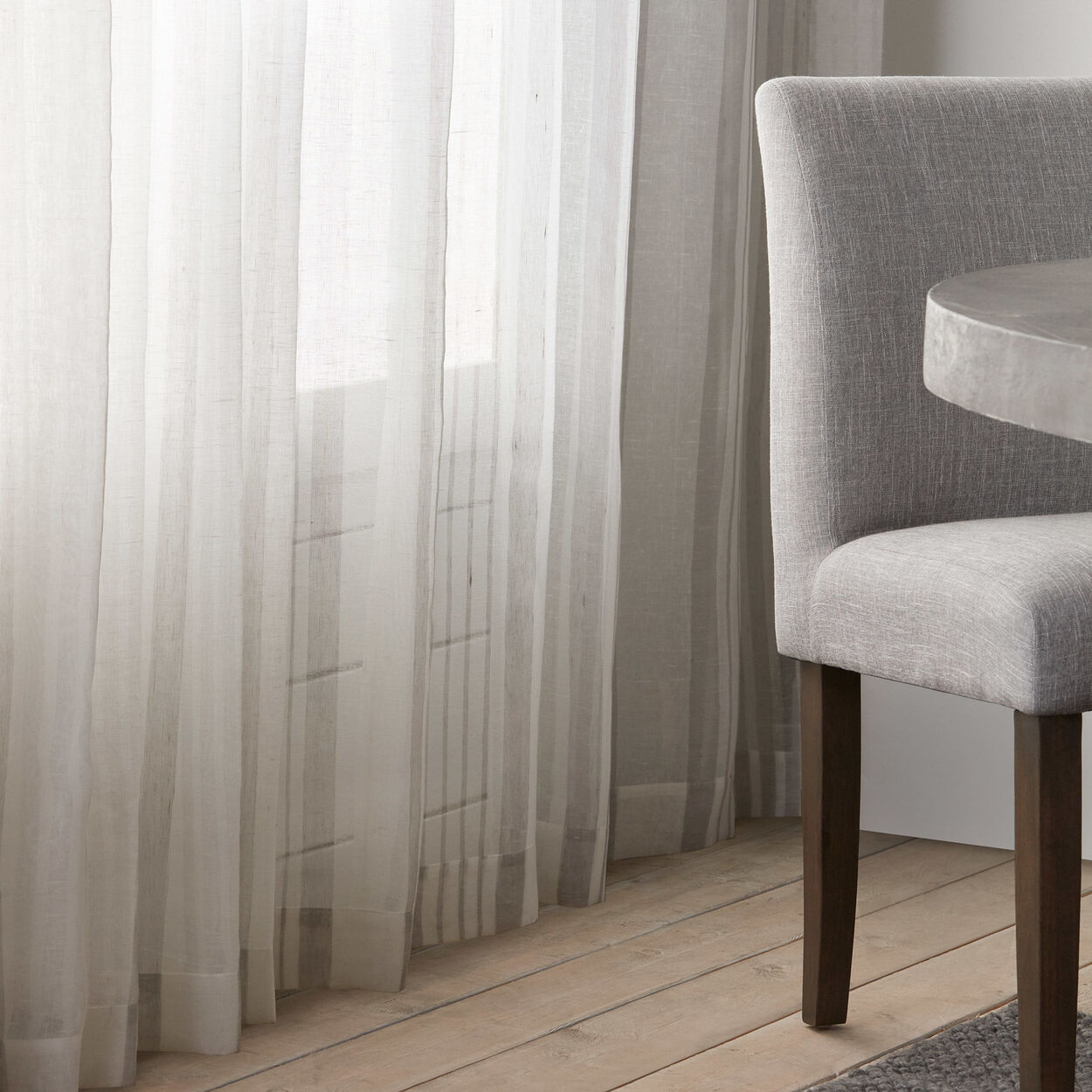 Lay Linen Blend Stripe Sheer Curtain