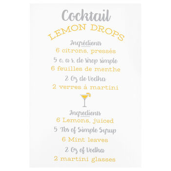 Lemon Typography Printed Canvas