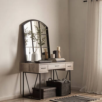 Veneer & Metal 3-Drawer Desk