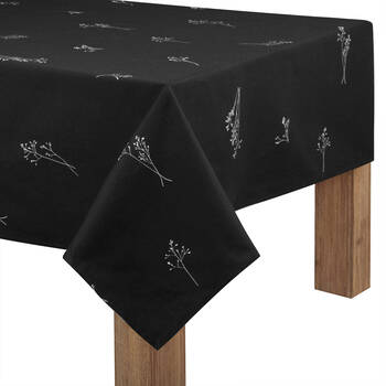Floral Printed Black Tablecloth