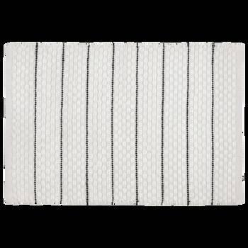 White Bathmat with Black Stripes