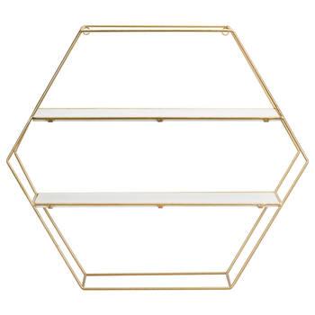 Étagère murale hexagonale en fil doré