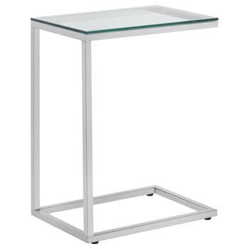 Table d'appoint avec dessus en verre trempé et base en métal