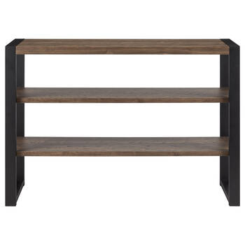 Three-Shelf Veneer and Iron Console Table