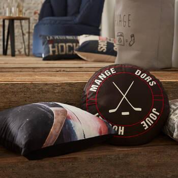 "Coussin décoratif bâton de hockey 18"" X 18"""