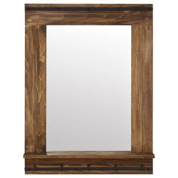 Rustic Wood Mirror with Shelf