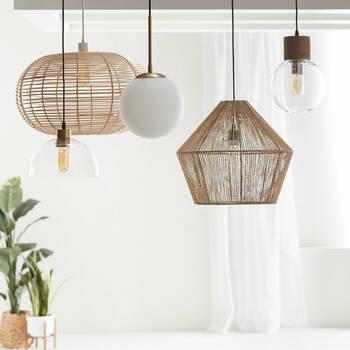 Lampe suspendue ronde en verre et en métal