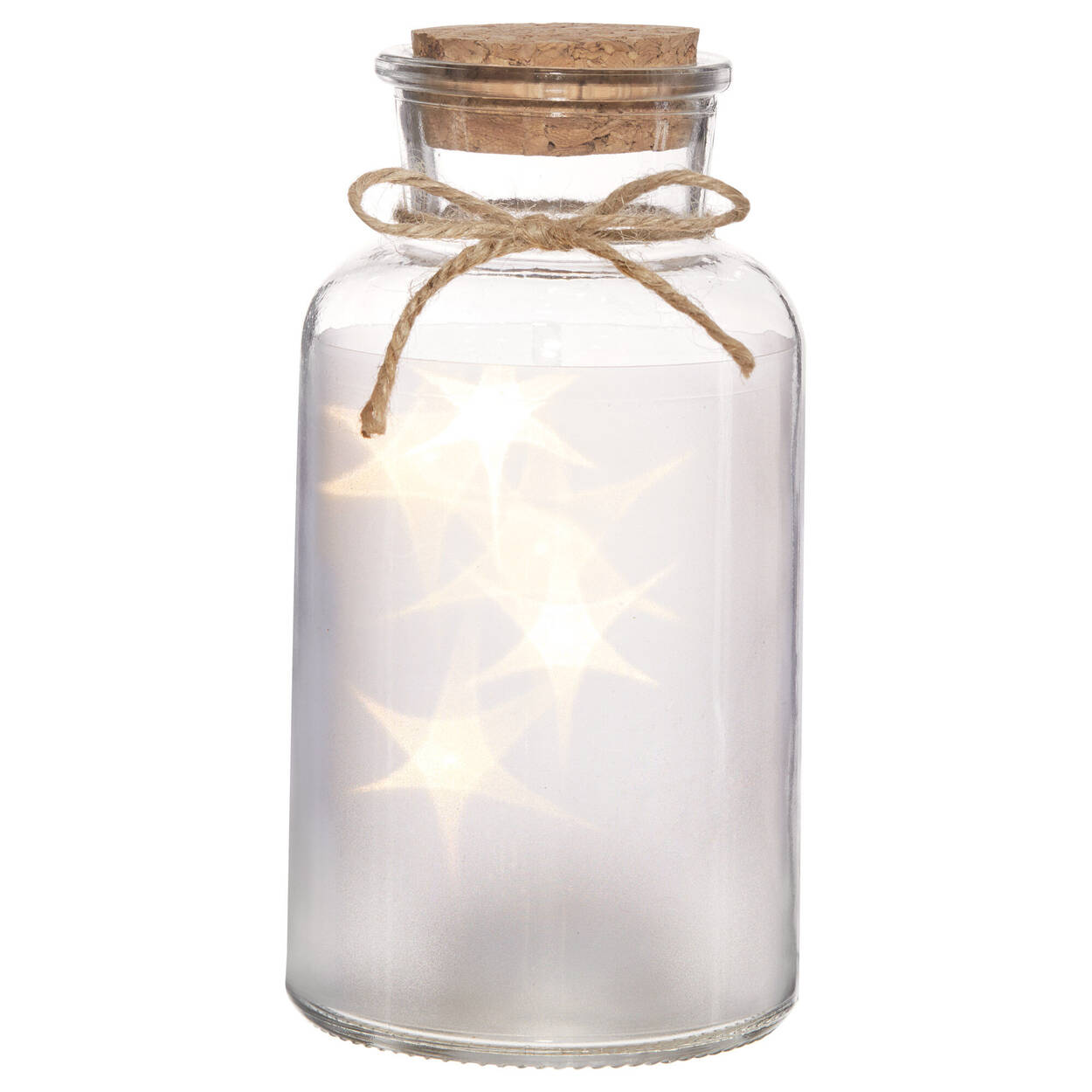 LED Glass Jar With Cork Lid