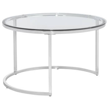 Set of 2 Tempered Glass Coffee Tables with Metal Legs