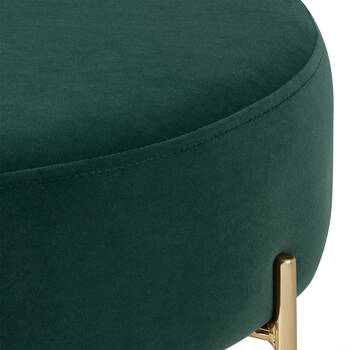 Green Velvet and Gold Metal Ottoman