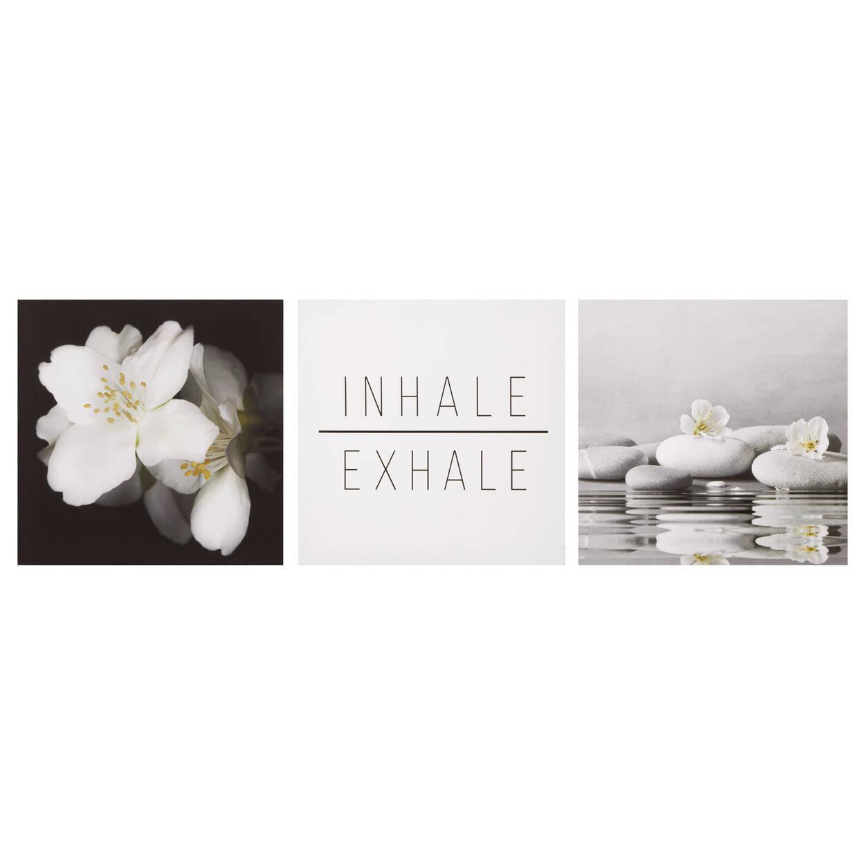 Ensemble de 3 tableaux imprimés Inhale Exhale