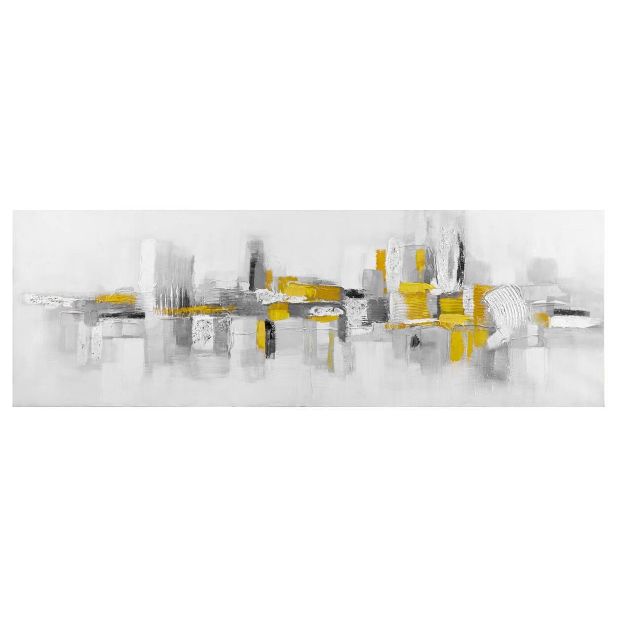 Tableau abstrait jaune peint à l'huile