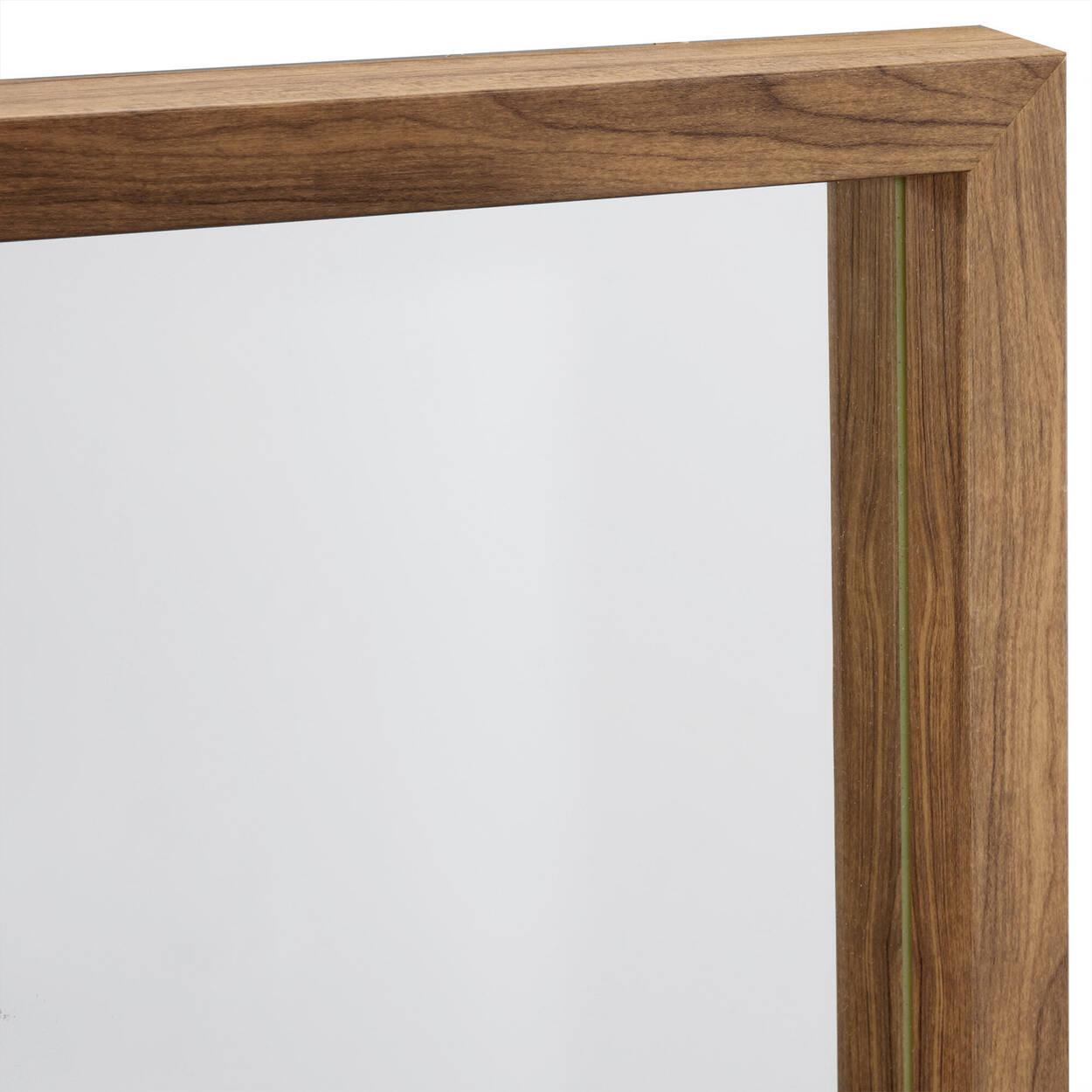 Miroir plein pied avec cadre au look de bois