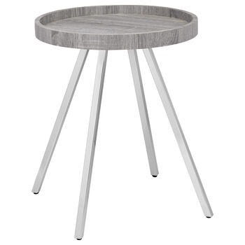 Round Wood Veneer and Chrome Side Table