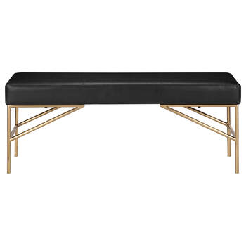 Faux Leather Bench with Gold Base