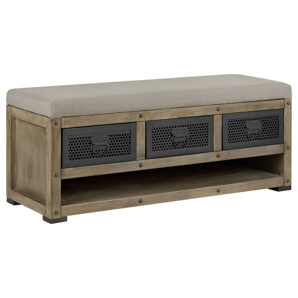 Banc de rangement rustique en bois et en tissu - Banc de rangement salle de bain ...