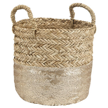 Natural Fibre Woven Storage Basket With Sequins