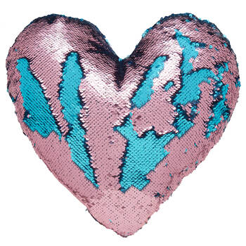 "Mileva Heart-Shaped Sequined Decorative Pillow 15"" X 16"""