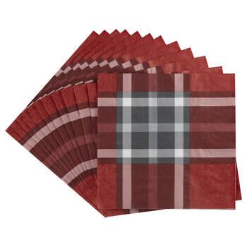 Red Plaid Paper Napkins