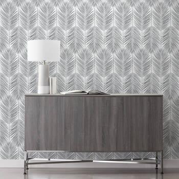 Grey Leaves Peel-&-Stick Wallpaper