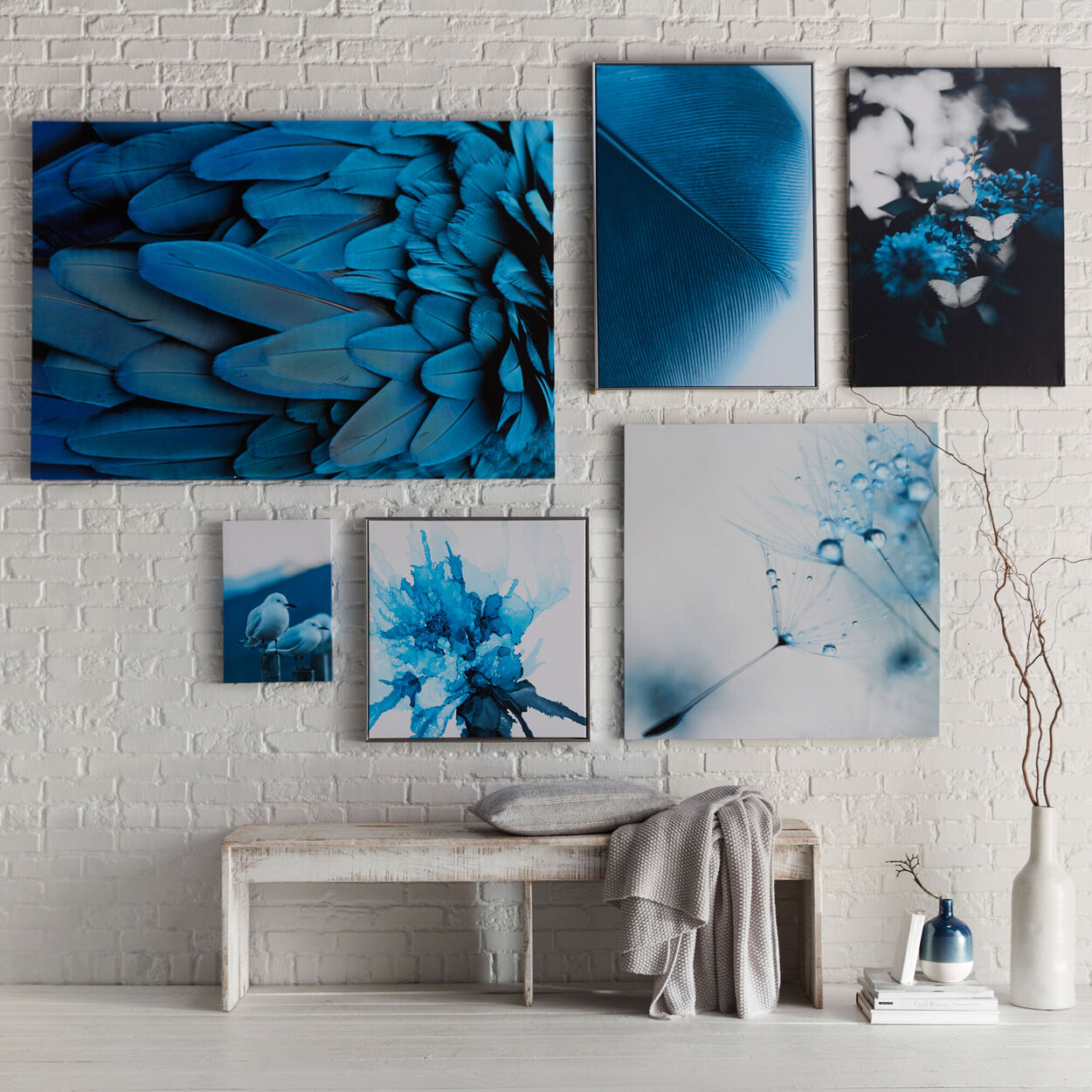 Blue Dandelion Printed Canvas