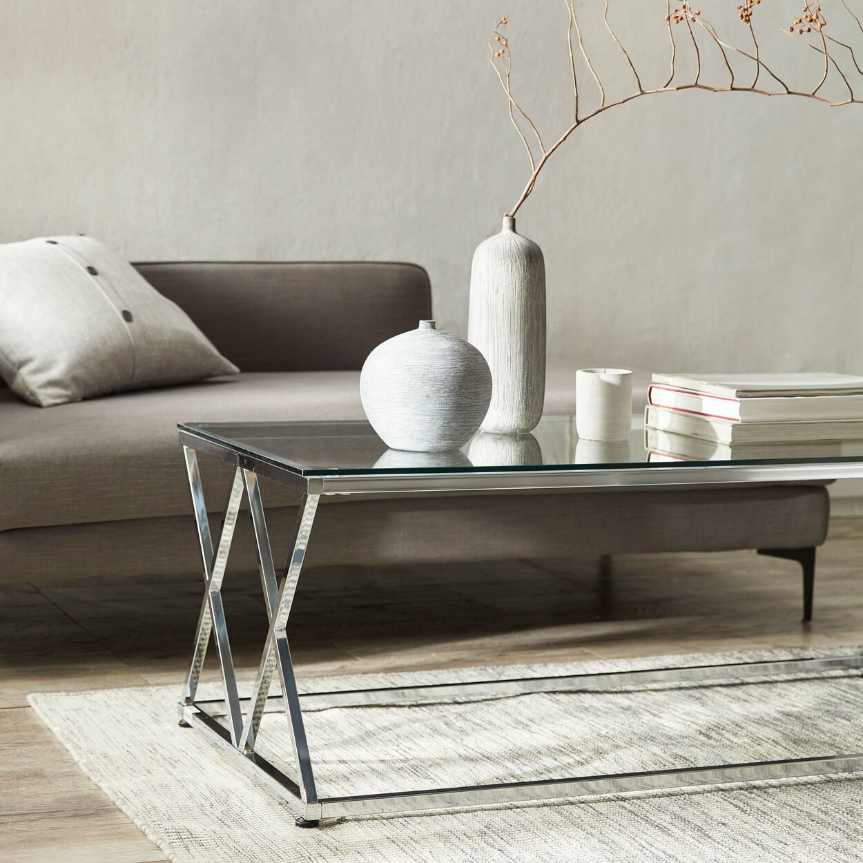 Tempered Glass Coffee Table with Metal Legs