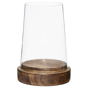 Large Glass and Wood Candle Holder