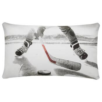 """Coussin lombaire décoratif hockey Dereck 14"""" X 22"""""""