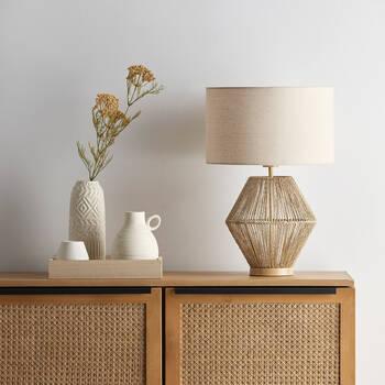 Lampe de table avec corde de chanvre et lin