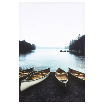 Evening Docked Canoes Printed Canvas