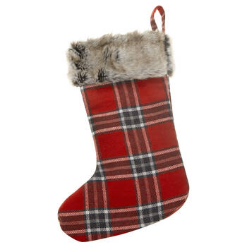 Plaid and Faux Fur Stocking