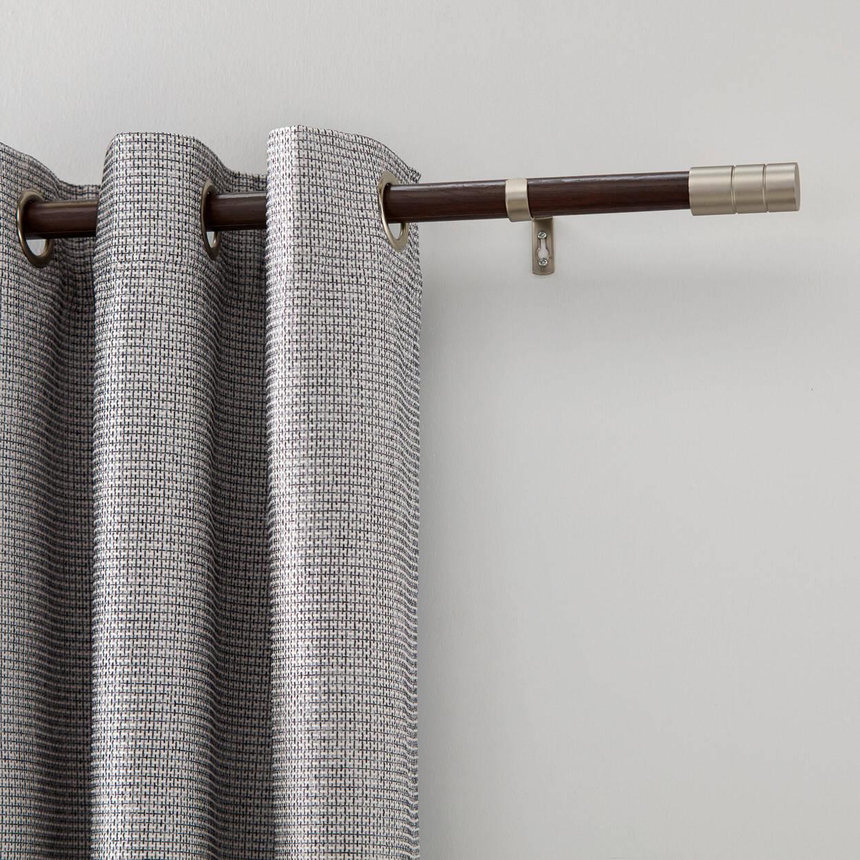 Tringle à rideaux en bois et tige d'acier - Diamètre 25/28 mm