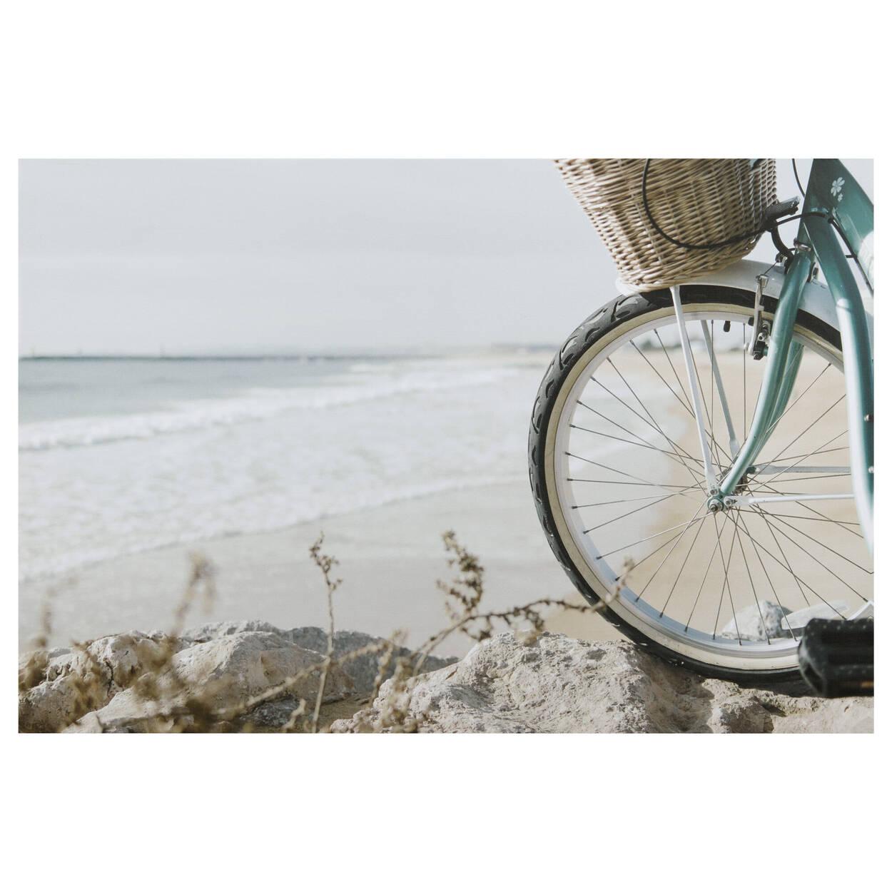 Bike on the Beach Printed Canvas