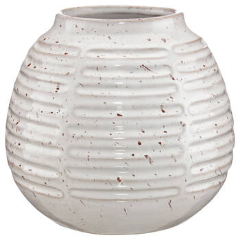Vase rond en porcelaine côtelée