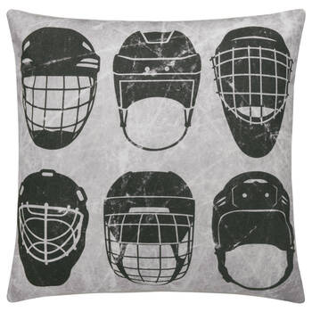 "Hockey Helmet Decorative Pillow 19"" x 19"""