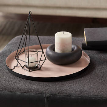 Black Textured Round Pillar Candle Holder