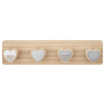 Wood and Metal Heart Shaped Hooks