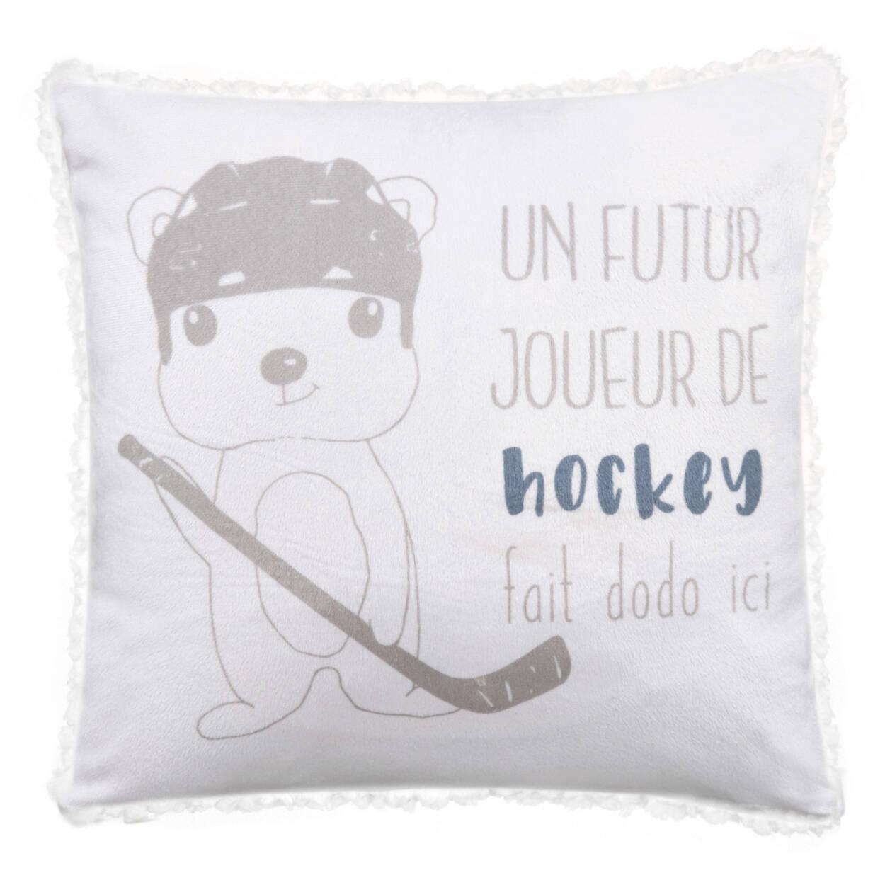"Joueur de Hockey Sherpa-Lined Decorative Pillow 15"" X 15"""