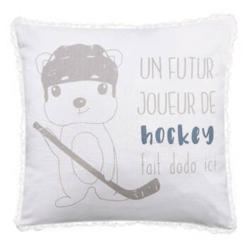"Joueur de Hockey Sherpa-Lined Decorative Pillow 15"" X 15"""