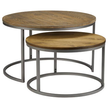 Set of 2 Pine Wood Coffee Tables with Metal Legs