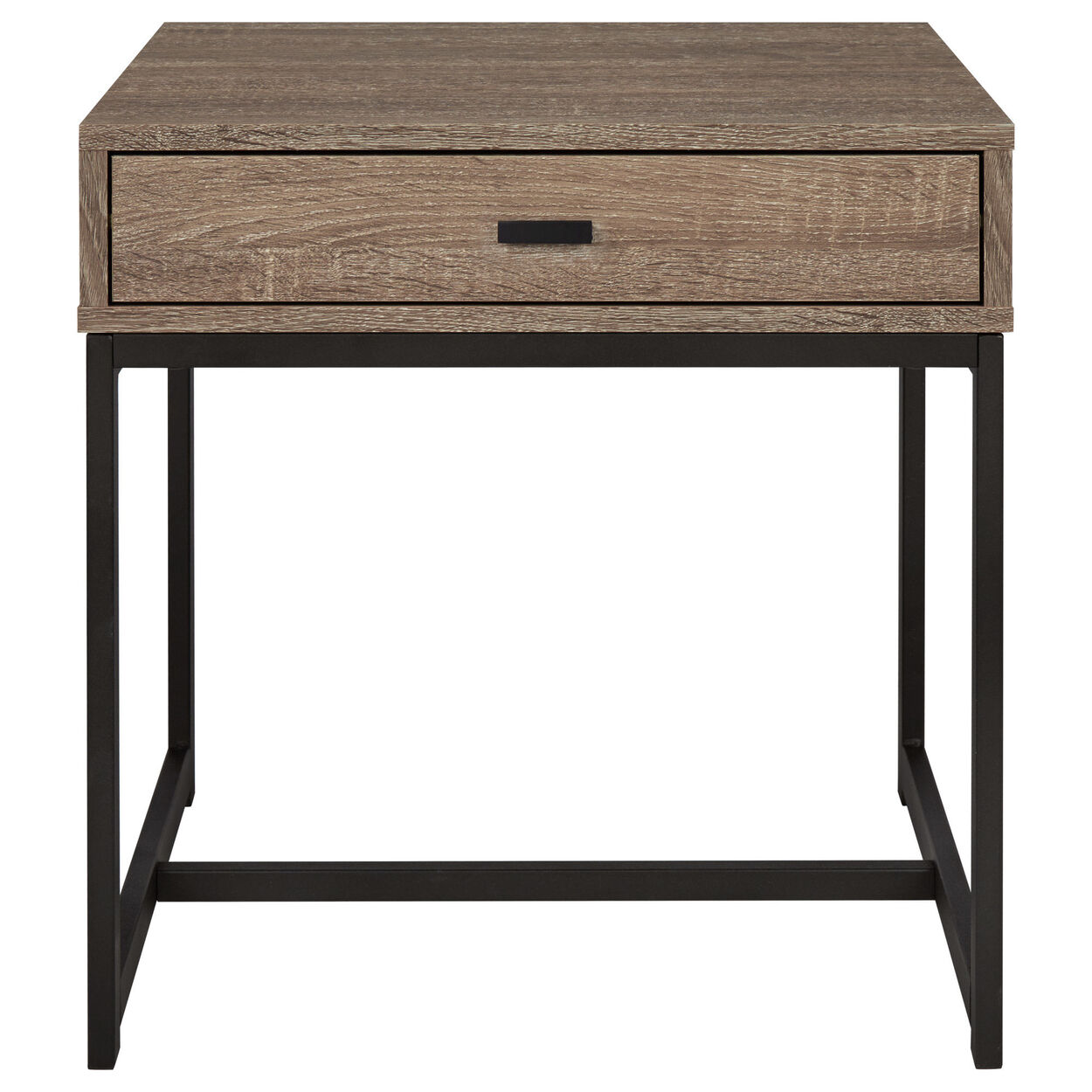 Wood veneer metal side table