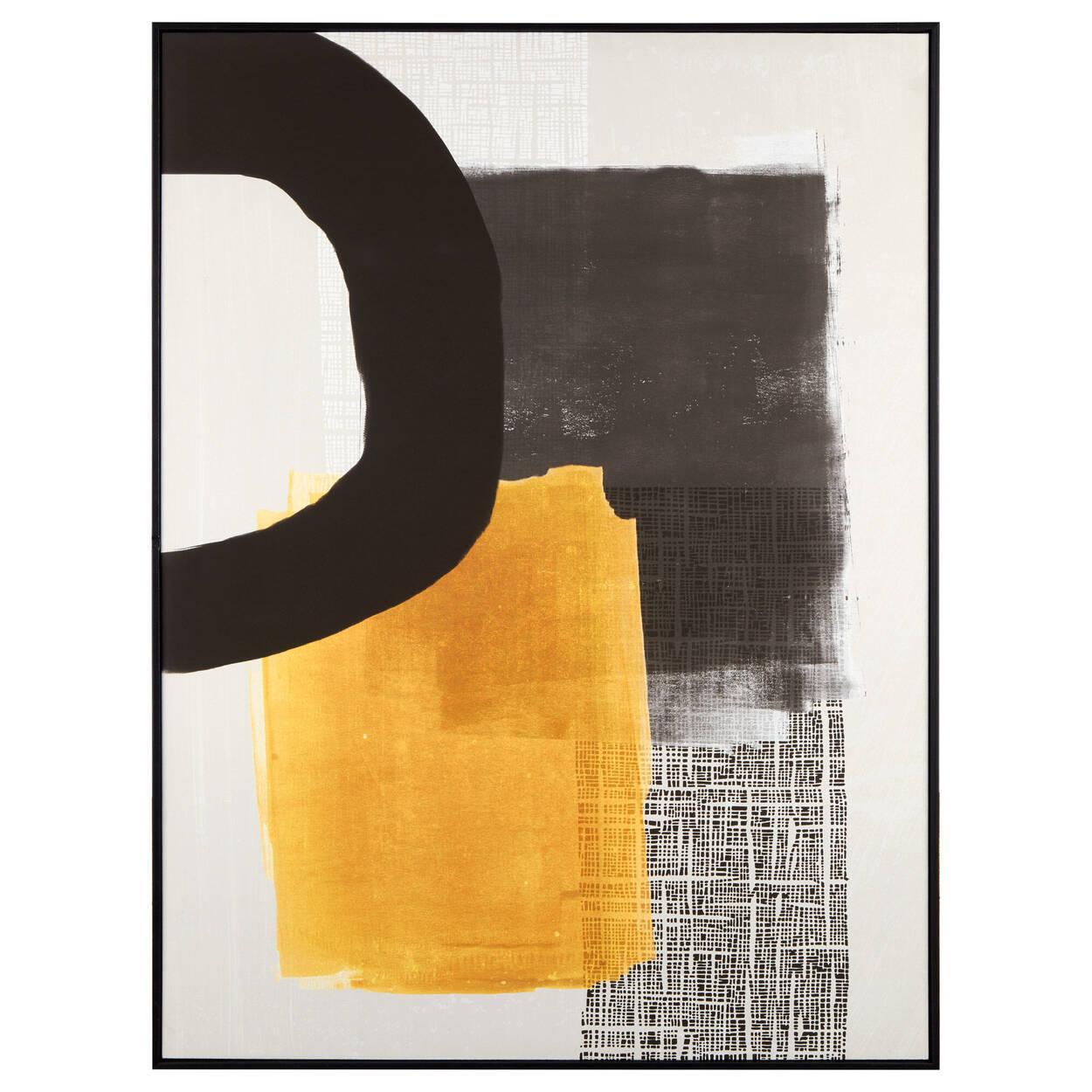 Tableau encadré abstrait noir et jaune