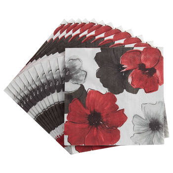 Set of 20 Flowered Table Napkins