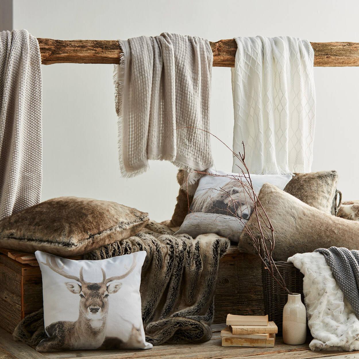 """Wolf Faux Fur Decorative Lumbar Pillow 15"""" X 32"""""""