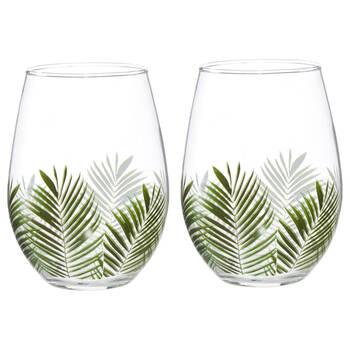 Set of 2 Tropical Wine Glasses