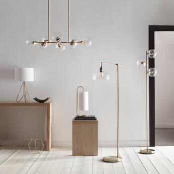 Lampe sur pied en verre et en métal